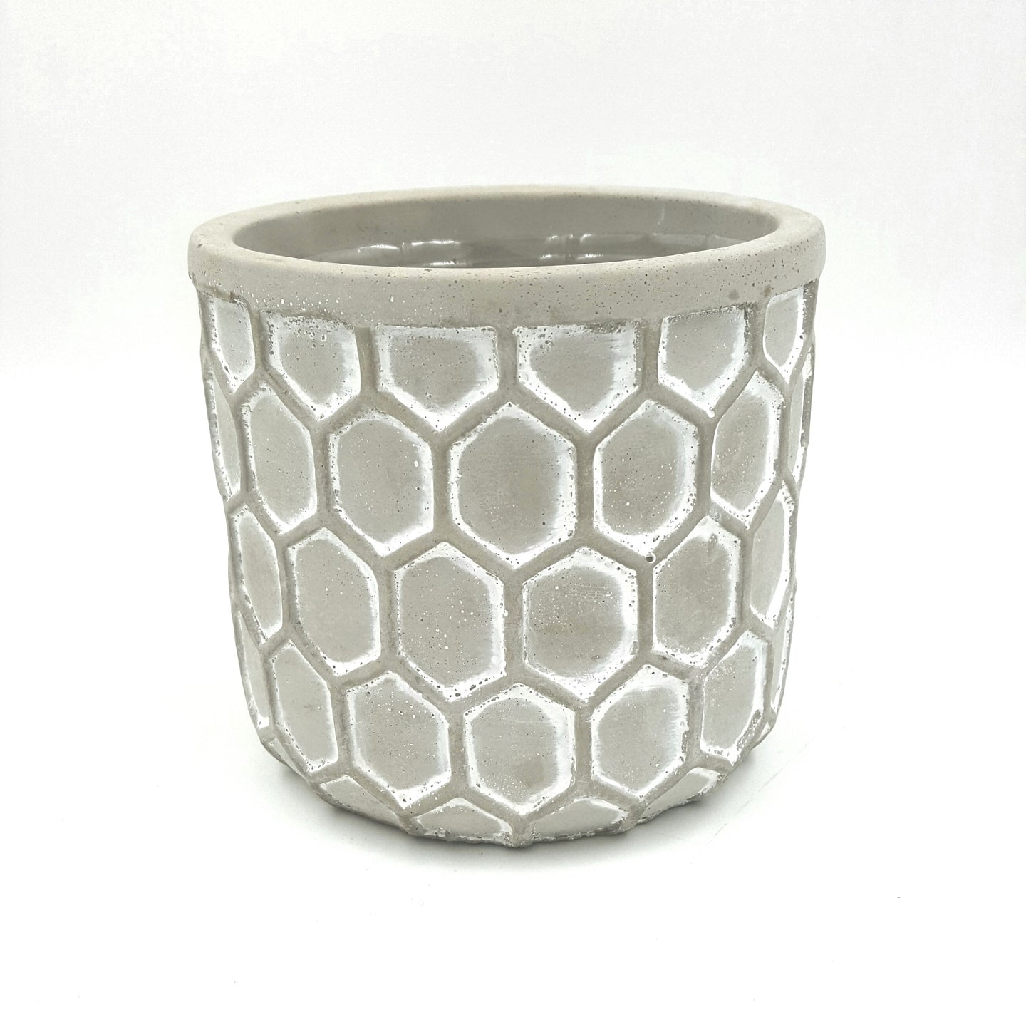 T4608  Embossed Honeycomb Cement Pot 4.75