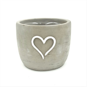 "T4665  4"" Round Grey White Heart Cement Pot W/Hard Liner"