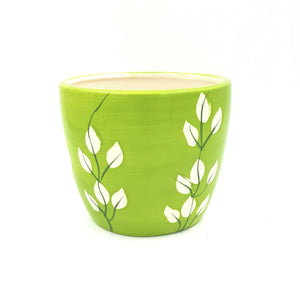 "T9110  5"" Green Leaf Design Ceramic Pot"