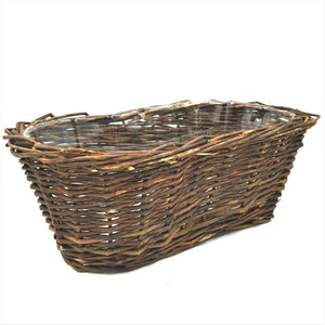 "178 8"" Dark Brown Peanut Basket W/Liner"