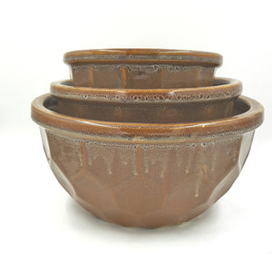 VC3007BRN  Brown Round Scallop Dish Garden Set/3