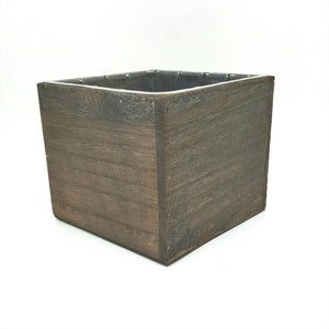 "W2043  5""Square Dark Brown Stained Wood Planter W/Hard Liner"