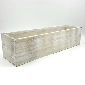 "W4042  16""Length White Wash Wood Rectangular Container W/LIner"