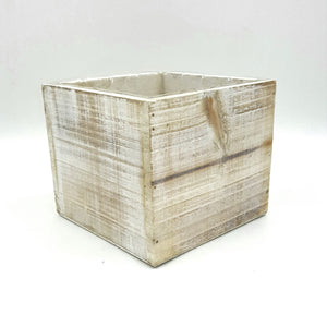 "W4043  5"" Square White Wash Wood Planter W/Hard Liner"