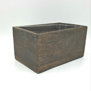 "W4245  7""Rectangular Brown Stained Wood Grain Planter W/Hard Liner"