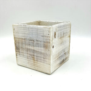 "W5256  4.5""Square White Wash Paulownia Wood Planter W/Hard Liner"