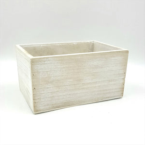 "W5260  7""Rectangular White Wash Paulownia Wood Planter W/Hard Liner"