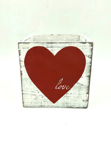 "W76851 5"" Grey Red Heart Wood Cube"