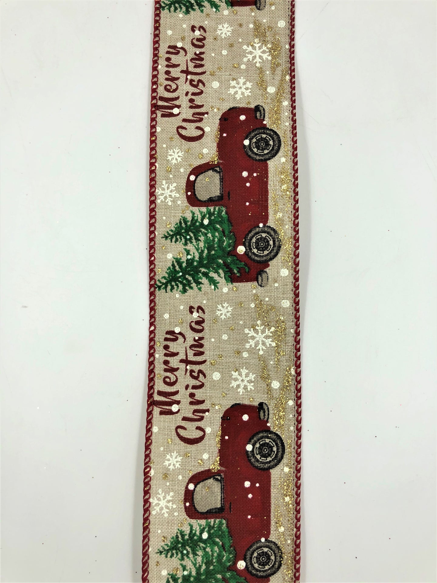 #40 Red Christmas Tree Truck Ribbon