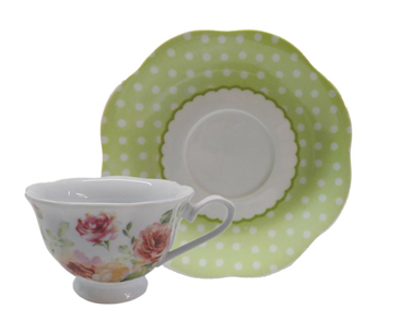 DL-567 Green Floral China Teacup/Saucer 6/Set