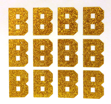 "Load image into Gallery viewer, 1.5"" Old Gold Sticker Glitter Letters"