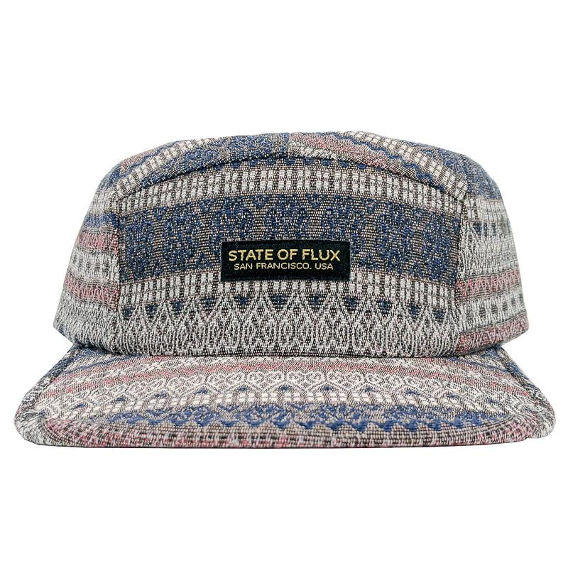 Tapestry 5-Panel Hat in navy and brown
