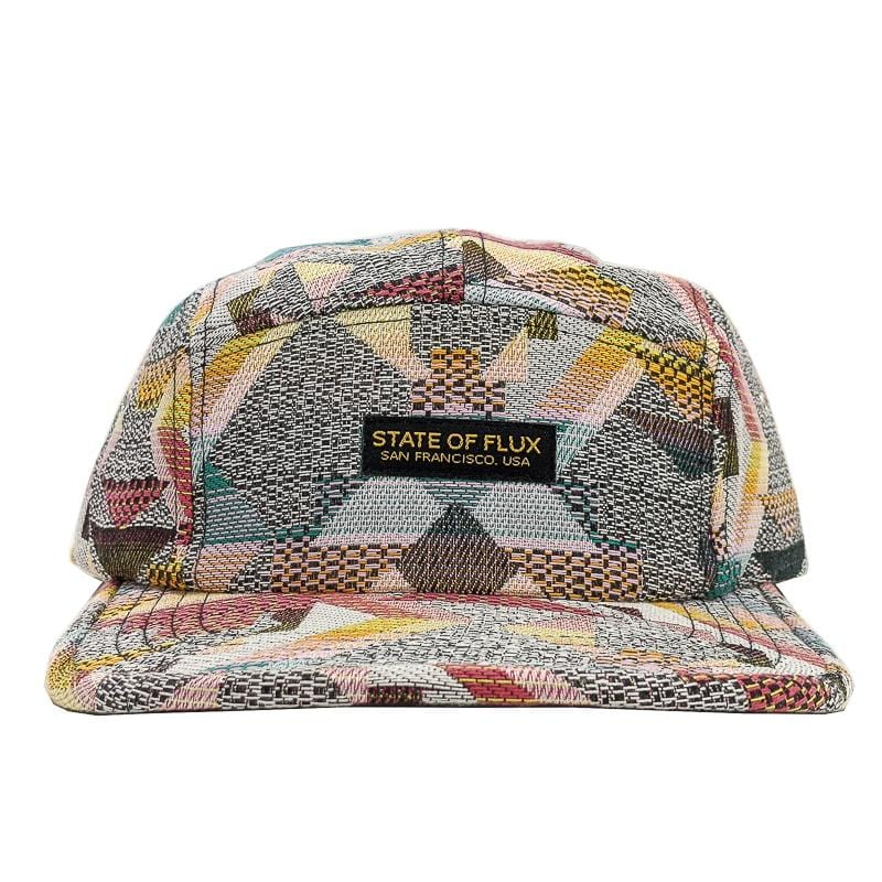Patchwork 5-Panel Hat in grey and teal