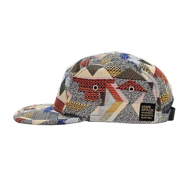 Patchwork 5-Panel Hat in grey and royal