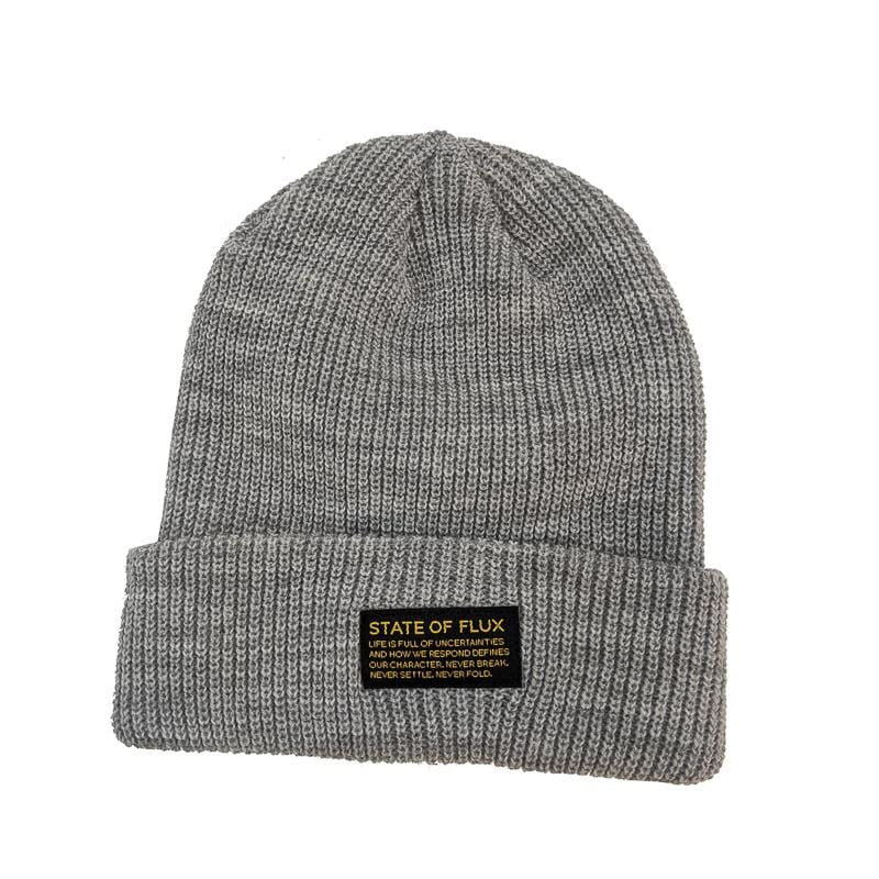 Knitted Mantra Beanie in heather grey