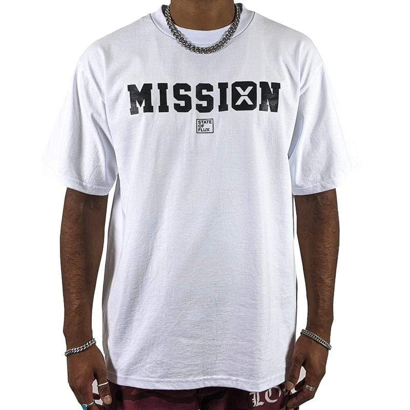 Still On A Mission Tee in white and black