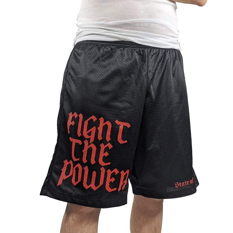 Fight The Power Mesh Shorts in black and red