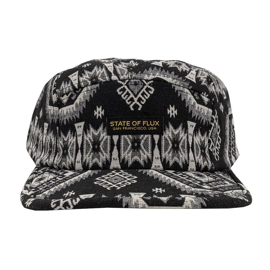 Motif 5-Panel Hat in black and white