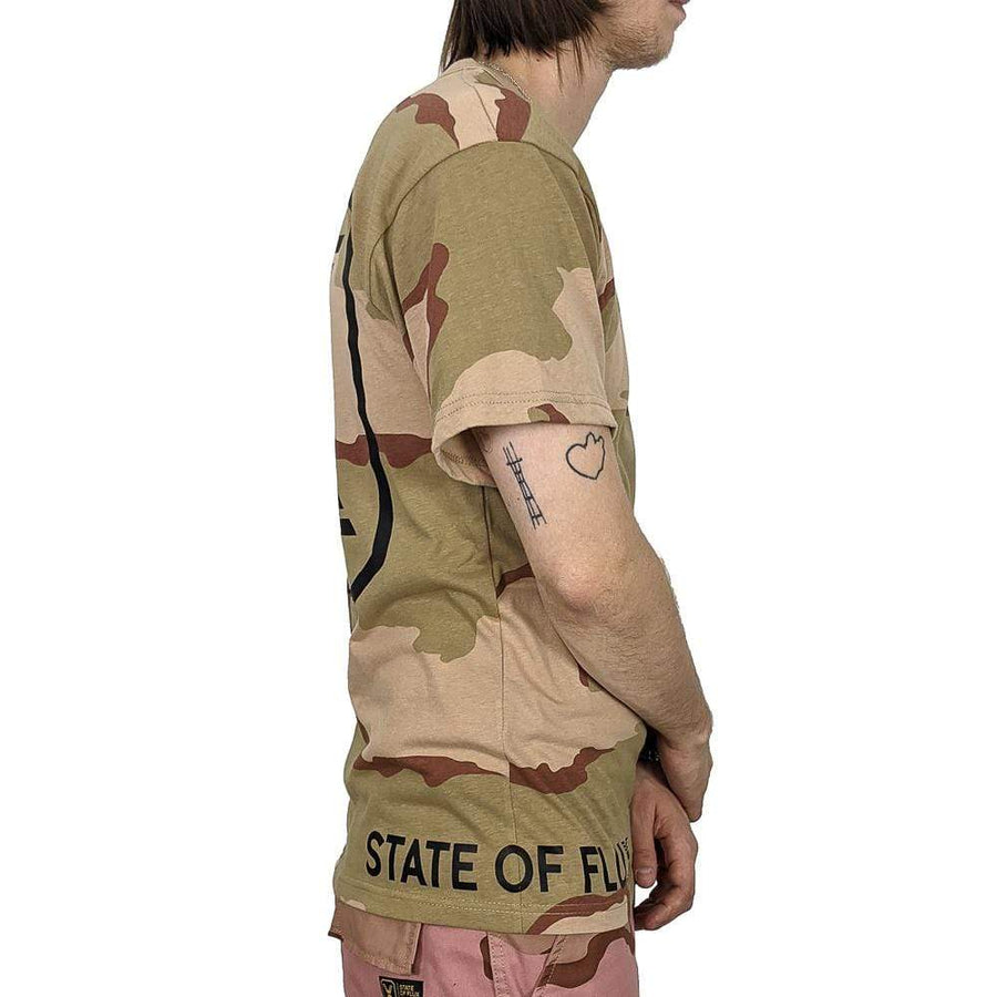 State Of Flux Logo Tee in desert camo