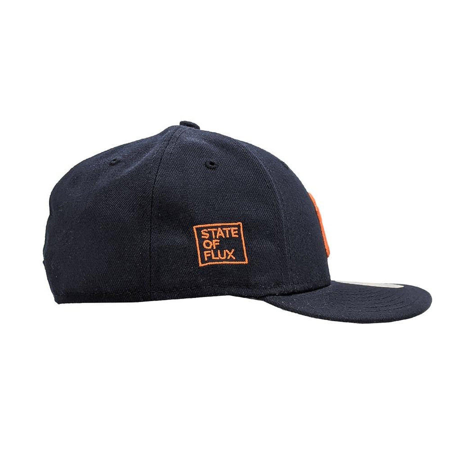 State Of Flux X New Era New York Yankees Low Profile 59FIFTY Fitted Hat in navy and orange