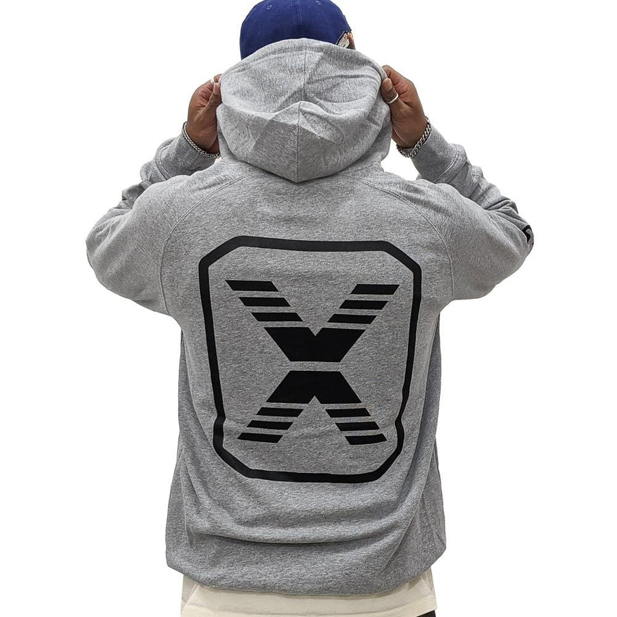 State Of Flux Logo Hoodie in heather grey and black