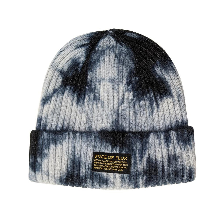 Thick Knit Mantra Beanie in black and white tie-dye