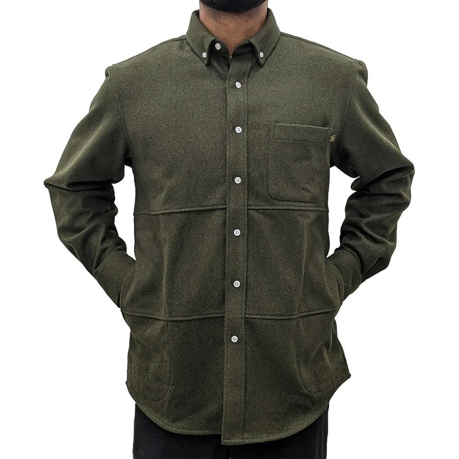 Never Settle Wool Button-up in olive