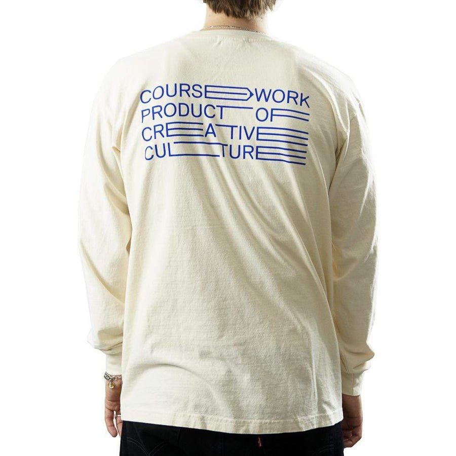 Full Width Text Long-sleeve Tee in natural