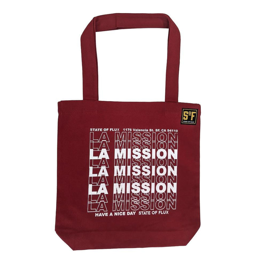 La Mission Tote Bag in cardinal and white