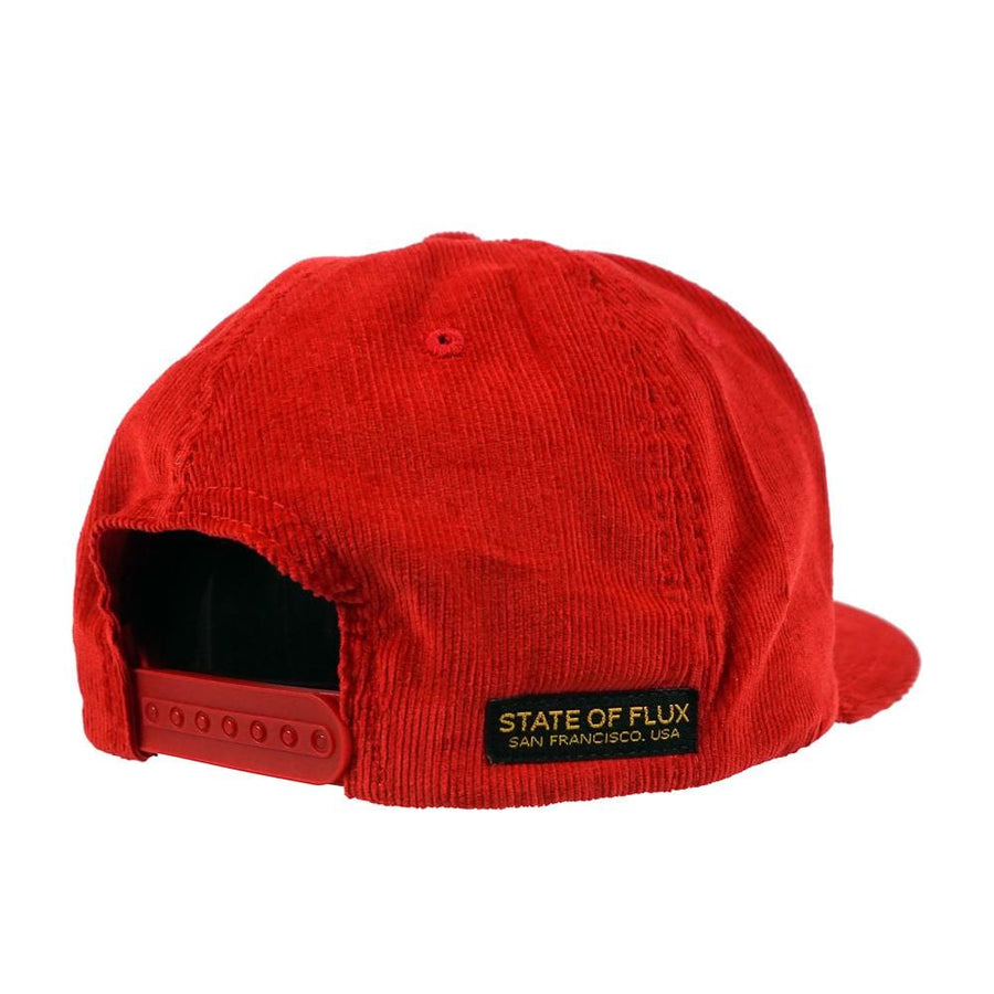 Tiger's Head Corduroy Snapback Hat in red