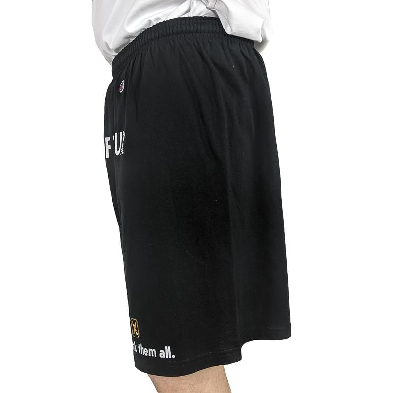 Know the Rules Shop Shorts in black and white
