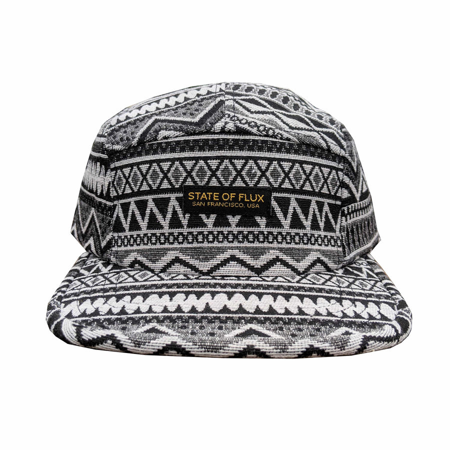 Primal 5-Panel Hat in black and white