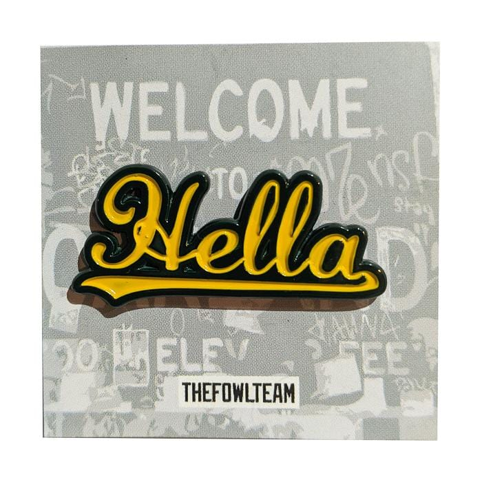 Hella Oakland Pin in yellow and green