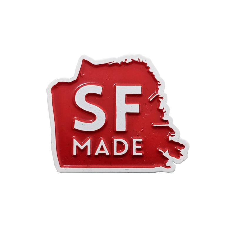 SF Made Pin in red and white