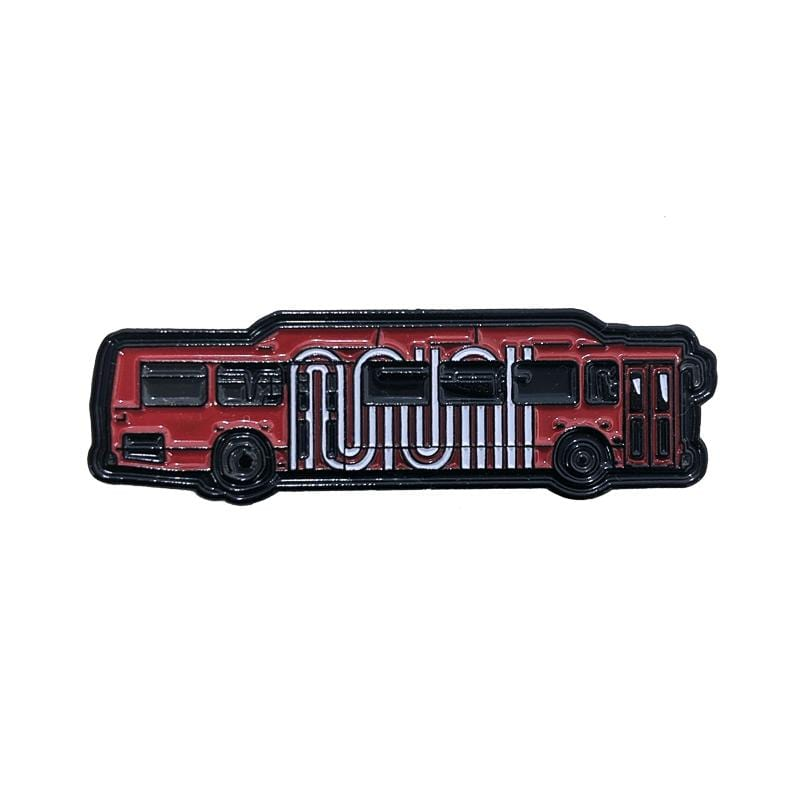 Bus Hoppin' Pin in red and white