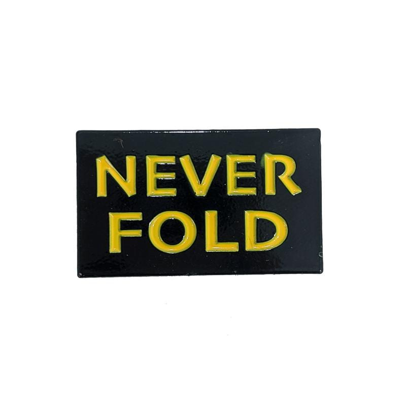Never Fold Pin in black and yellow