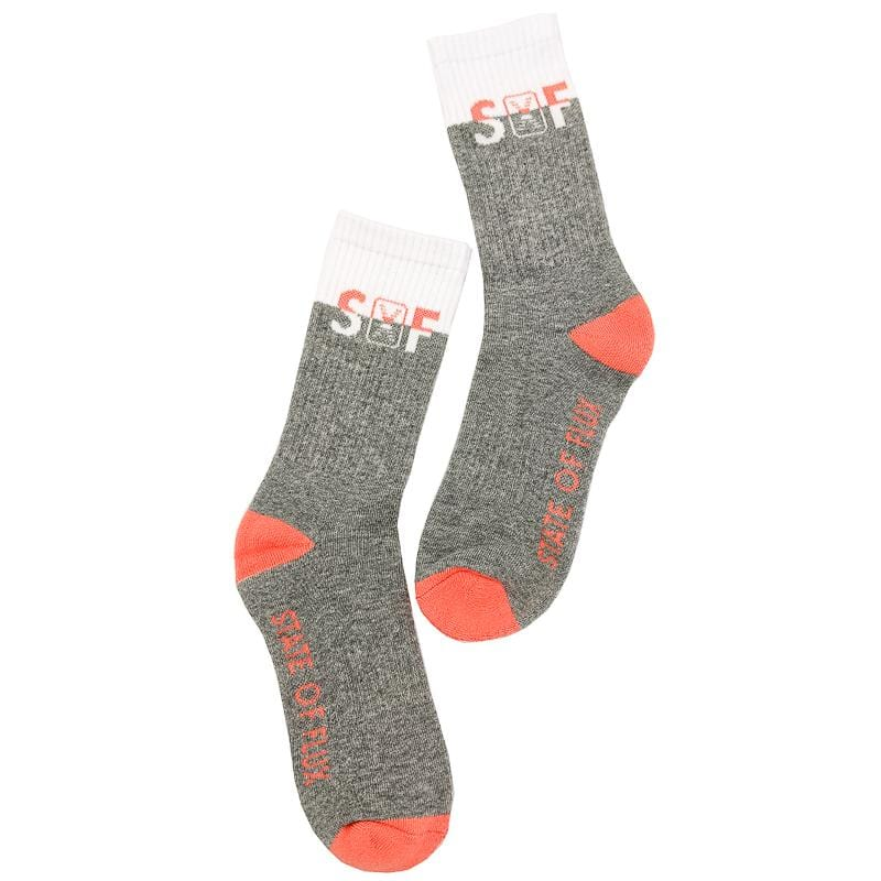SOF Classic Crew Socks in salmon and grey