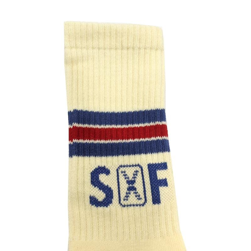 SOF Stripe Crew Socks in egg shell and blue