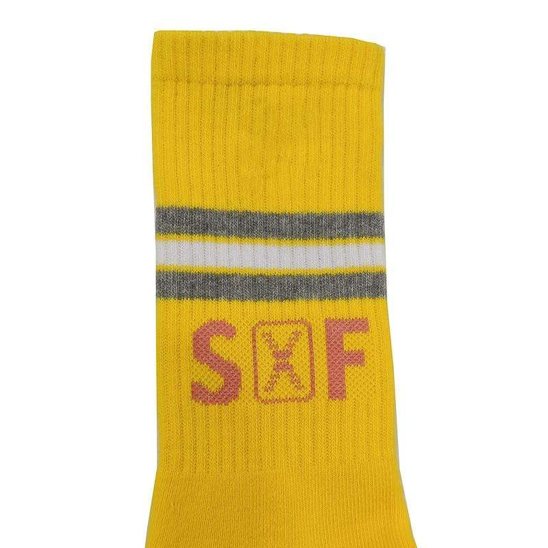 SOF Stripe Crew Socks in yellow and grey