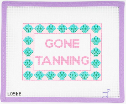 Needlepoint pillow GONE TANNING