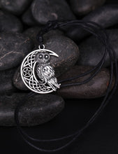 Load image into Gallery viewer, Goddess Crescent Moon Pendant Owl Necklace - Positively Souled