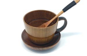 3pcs Natural Wooden Coffee Cup Set - Positively Souled