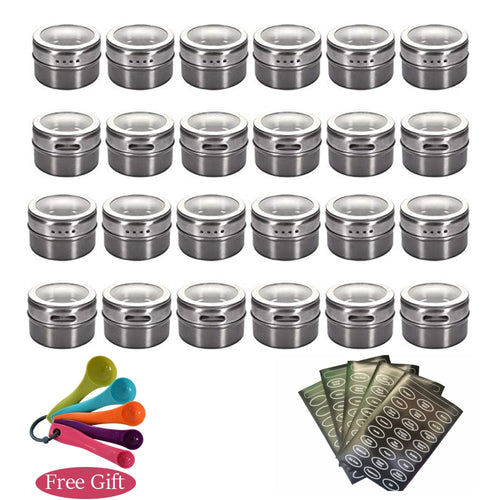 16pcs Magnetic Spice Container Set With Labels