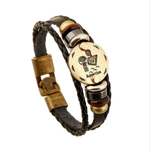 12 Constellations Leather Charm Bracelet