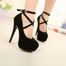 Load image into Gallery viewer, Womens Pumps Spaghetti Heels High Heels OL Style Formal Ankle Strap Platform Shoes Large Size