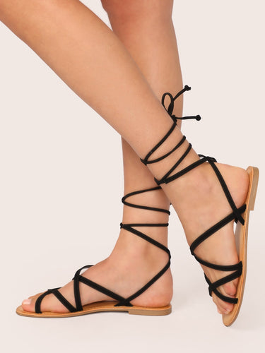 Open Toe Strappy Lace Up Gladiator Flat Sandals
