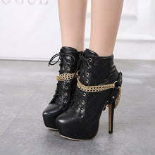 Load image into Gallery viewer, Zip Metal Chains Rivet Motorcycle Boots Women Shoes Super High Heels Platform Ankle Boots Punk Rock Gothic Biker Boots