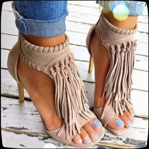 New Summer Fashion Ladies High Heel Open Toe Fringed Sandals Large Size Girls Frosted High Heels Black Beige