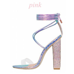 Women's  Rhinestone Summer Cross Strap Sandal Pumps Heels Diamond Heels High Heeled Bandage Sandals