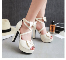 Load image into Gallery viewer, 8cm the new summer band sweet high heels sexy sandals fish mouth bow shoes with thick lady